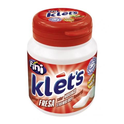 Chicles Klet's Fini sin azúcar bote sabor fresa 6 unidades.