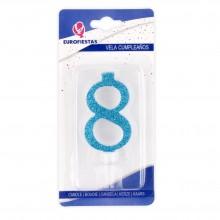 Vela Purpurina Azul Nº8