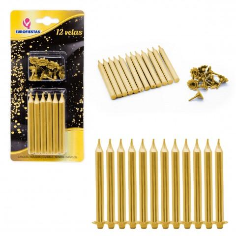 Velas oro con soporte 12u.