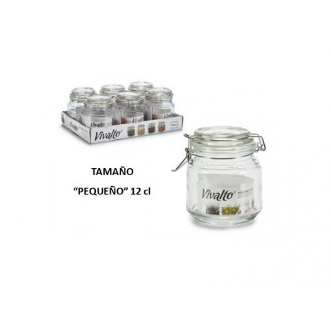 Tarro vidrio hermético con tapa pequeño 12cl