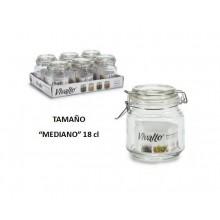 Tarro vidrio hermético con tapa mediano 18cl