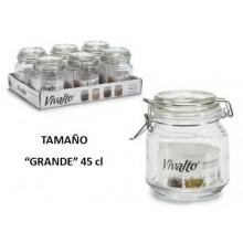 Tarro vidrio hermético con tapa grande 45cl