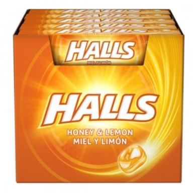 Caramelos halls miel y limon caja de 20 paquetes