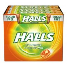 Caramelos halls sin azucar cítricos mix caja de 20 paquetes