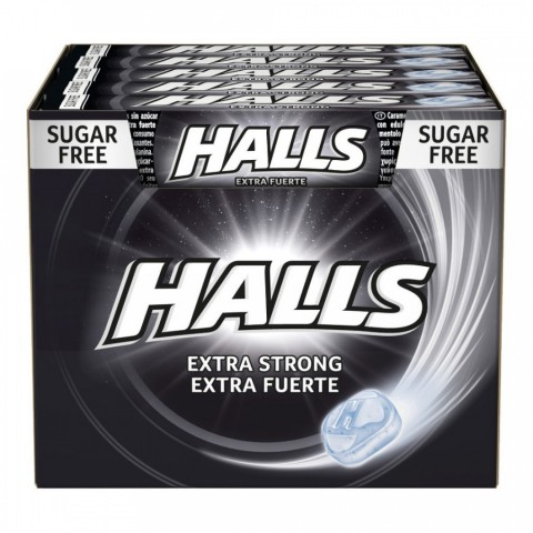 Caramelos halls extra fuerte sin azucar caja con 20 paquetes