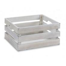 Caja de madera blanco envejecido mediana