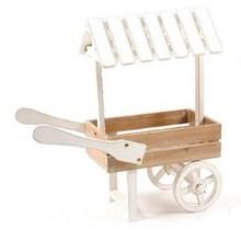Carrito expositor de madera con ruedas