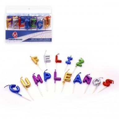 Velas Feliz Cumpleaños letras metalizadas