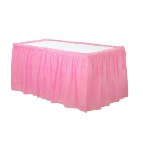 Faldón plisado de plástico rosa