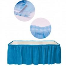 Faldón plisado de plástico azul
