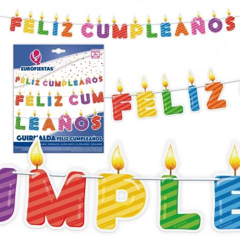 Guirnalda Feliz Cumpleaños Velas 1u.
