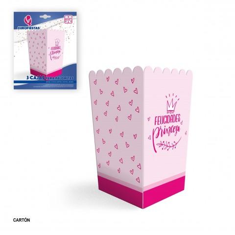 Pack 3 cajas para palomitas Felicidades Princesa