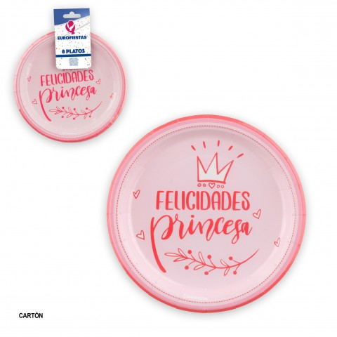 Platos Felicidades Princesa rosa 8u.