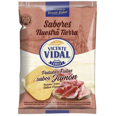 Vicente Vidal Patatas Fritas Onduladas sabor Jamón 30gr. 25u.