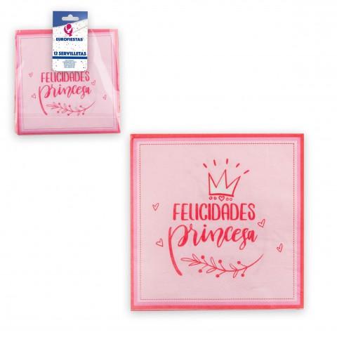 Servilletas Felicidades Princesa 12u.