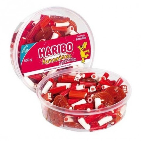 Tarrina Haribo Favoritos Red & White 500gr.