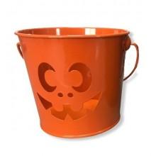 Cubo de metal Halloween Naranja 12cm.