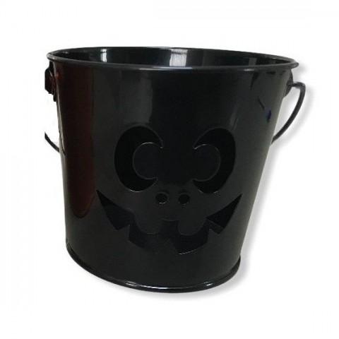 Cubo de metal Halloween Negro 12cm.