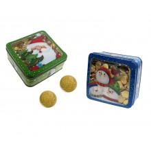 Lata de Navidad con Monedas de Chocolate 250u.