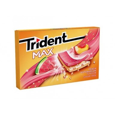 Chicles trident max formato láminas sabor melocotón-sandía 12u.