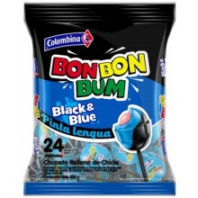 Colombina Bon Bon Bum Black & Blue Pinta Lenguas  bolsita 24u.
