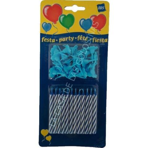 Velas de cumpleaños con soporte 24 unidades color azul.