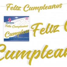 Guirnalda Feliz Cumpleaños Letras Oro Purpurina 1u.