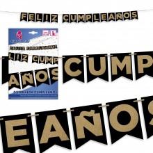 Guirnalda Feliz Cumpleaños Negra Oro Purpurina 1u.