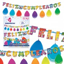 Guirnalda Feliz Cumpleaños Fiesta con globos 1u.