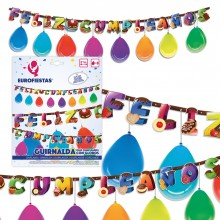 Guirnalda Feliz Cumpleaños Dulces con globos 1u.