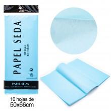 Papel seda Azul 10 hojas 50 x 66 cm.