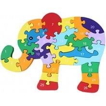 Puzzle madera elefante