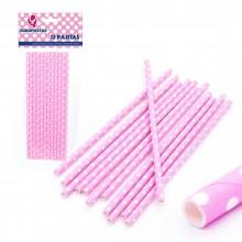 Pajitas de papel rosa 12u.