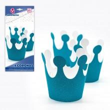 Coronas azules con purpurina 4u.