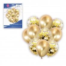 Ramo de Globos Oro con 10 globos