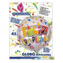 """Globo de Poliamida """"Feliz cumpleaños"""" 45cm"""