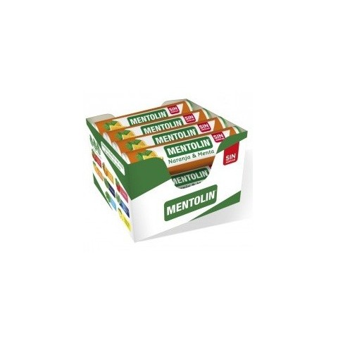 Caramelos Mentolin Naranja & Menta sin azúcar 12 tubos