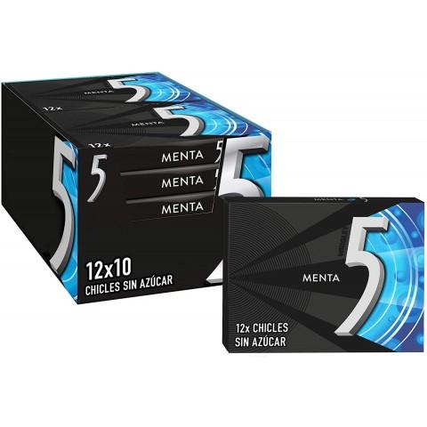 Chicle Five Menta 10 paquetes de 12 láminas.