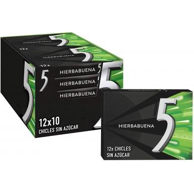 Chicle Five Hierbabuena 10 paquetes de 12 láminas.