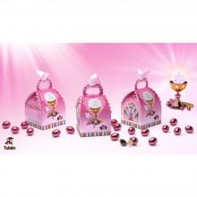 Cajita de comunión rosa de Tukán choco almendras 35gr.