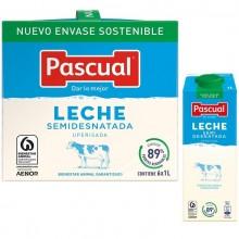Leche SEMIDESNATADA Pascual 1L pack 6 unidades