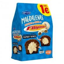 Magdalenas al cacao con crema de flilipinos blancos 180gr.