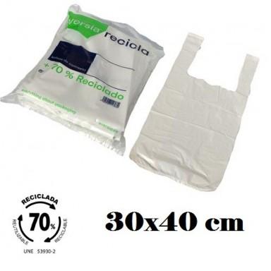 Bolsas blancas de plástico 70% reciclado 30x40cm 120u.