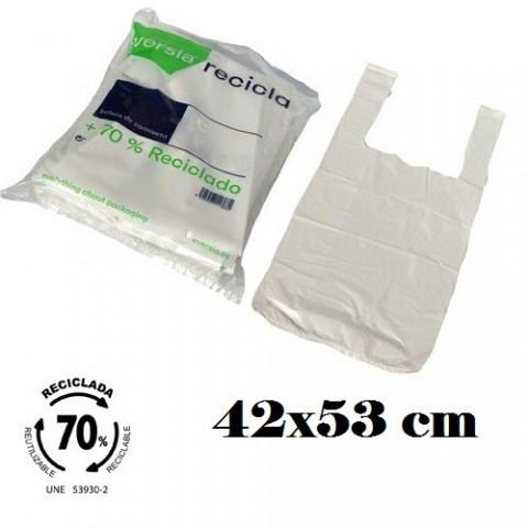 Bolsas blancas de plástico 70% reciclado 42x53cm 120u.