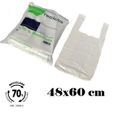 Bolsas blancas de plástico 70% reciclado 48x60cm 90u.