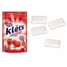 Chicles Klet's Fini sin azúcar bolsita sabor fresa 39 gramos.